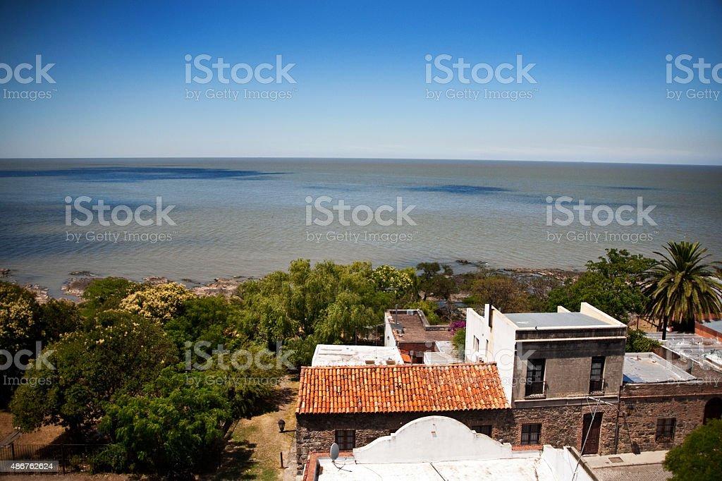 Vista aérea de Colonia Del Sacramento, Uruguai centro histórico - foto de acervo