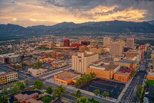 Aerial View of Colorado Springs at Dusk