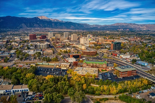 Aerial View of Colorado Springs with Autumn Colors