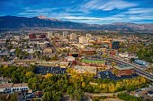 istock Aerial View of Colorado Springs with Autumn Colors 1294753877