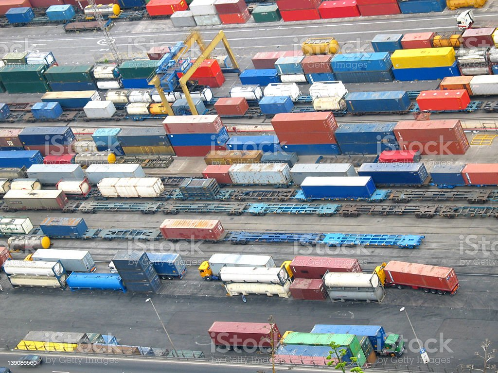 Aerial view of colored lorries and containers royalty-free stock photo