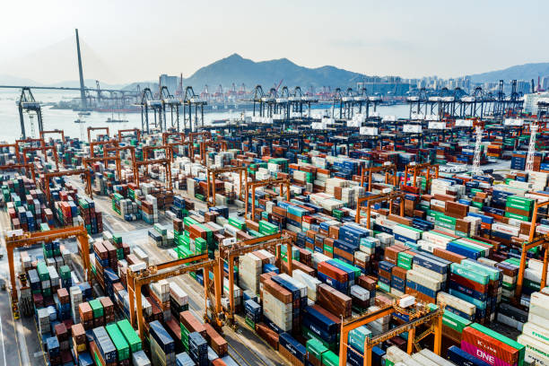 Aerial view of colorful container terminal Shipping cargo commercial logistics industry Aerial view of huge industrial port with containers. Global trade networks trade war stock pictures, royalty-free photos & images