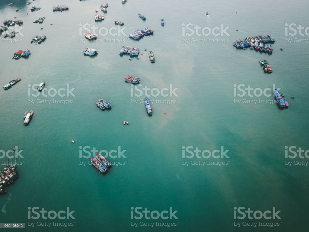 Aerial view of colorful fishing boats at Halong Bay near Cat Ba island in Vietnam - Royalty-free Aerial View Stock Photo