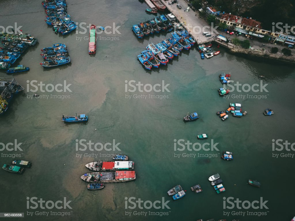 Aerial view of colorful fishing boats at Halong bay - Royalty-free Aerial View Stock Photo