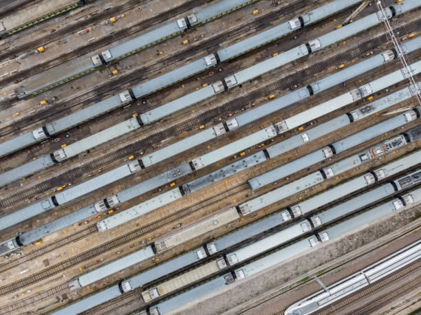 Aerial View of Colorful Freight Trains stock photo