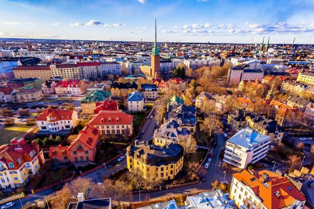 aerial view of colorful helsinki-drone - finland stock pictures, royalty-free photos & images