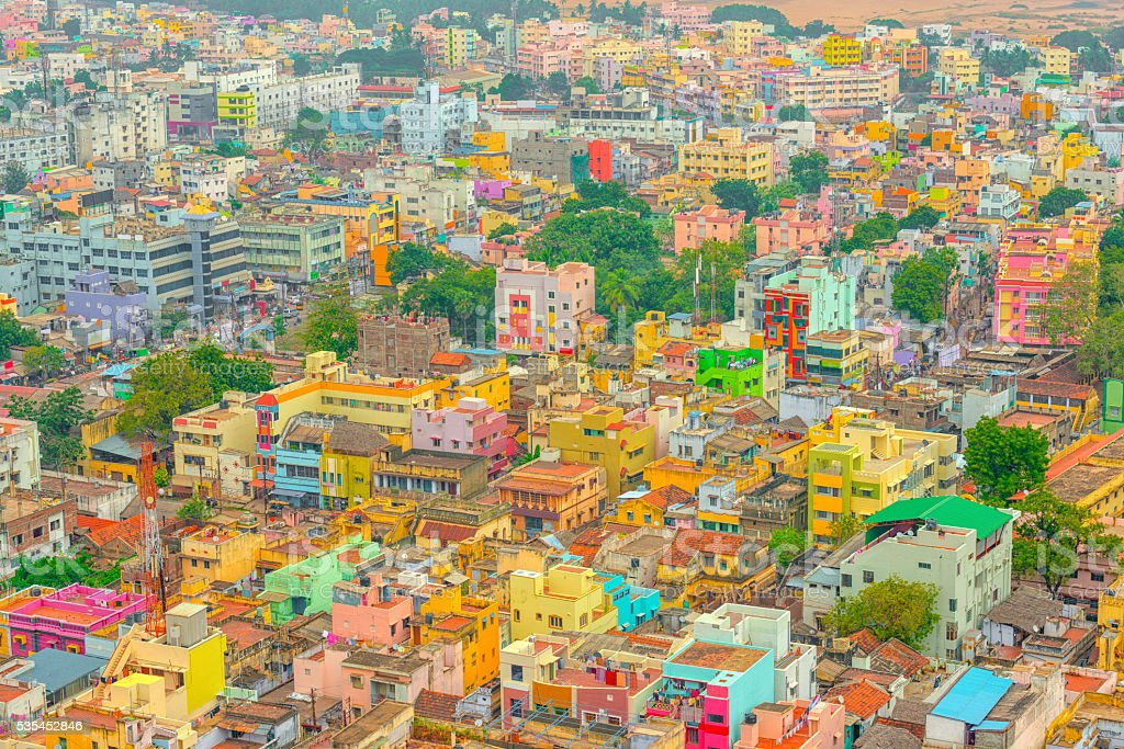 aerial view of colorful homes Indian city Trichy, Tamil Nadu stock photo