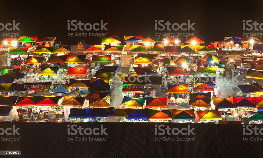 Aerial view of colorful night market stock photo