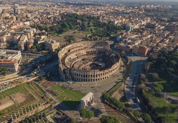 Aerial view of Colosseum Aerial view of Colosseum at sunny day. Rome, Italy coliseum rome stock pictures, royalty-free photos & images