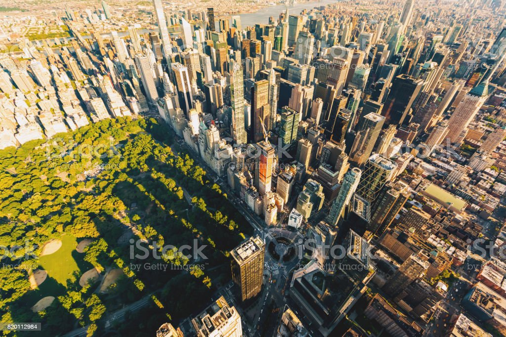 Aerial view of Columbus Circle and Central Park in NY City stock photo