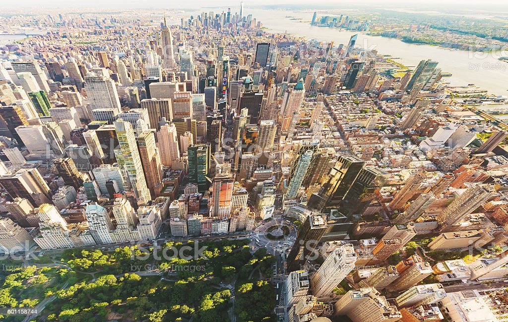 Aerial view of Columbus Circle and Central Park in stock photo