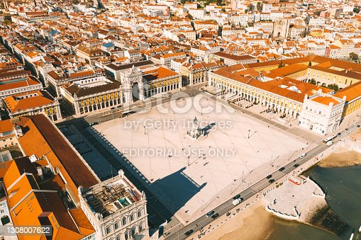 istock Aerial view of Commerce Square or Praca do Comercio in Lisbon, Portugal. 10.03.2021 1308007622