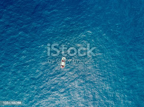 Aerial view of commercial fishing boat