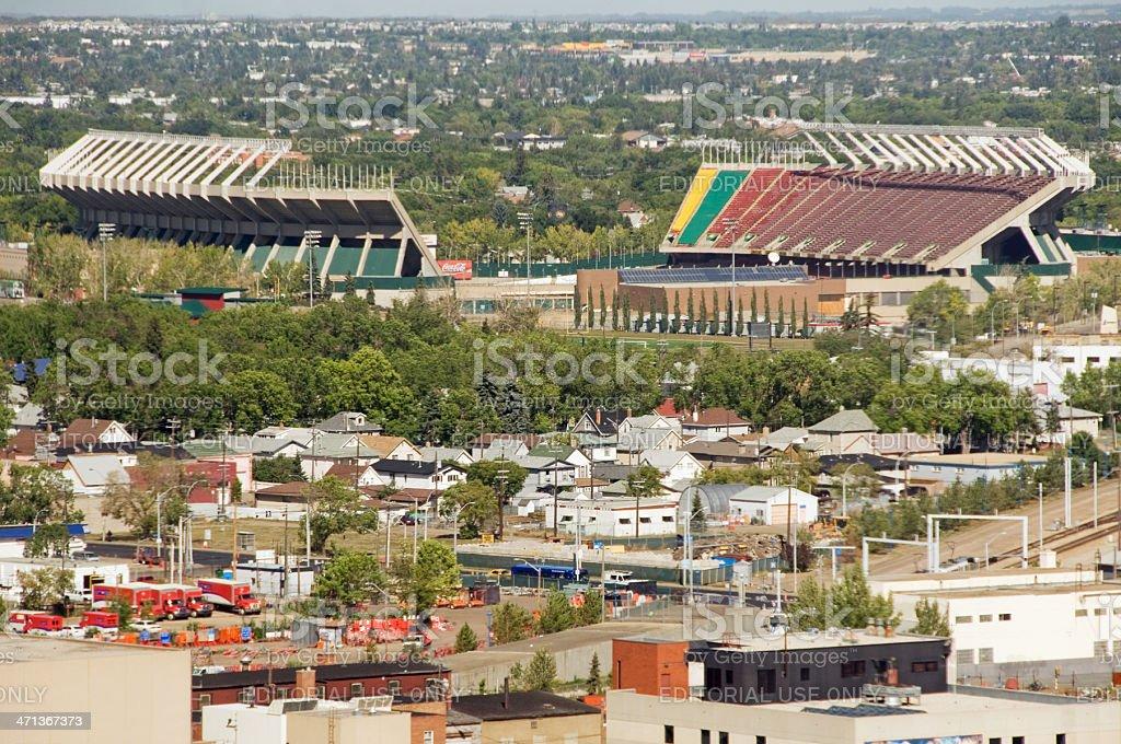 Aerial view of Commonwealth Stadium, Edmonton stock photo