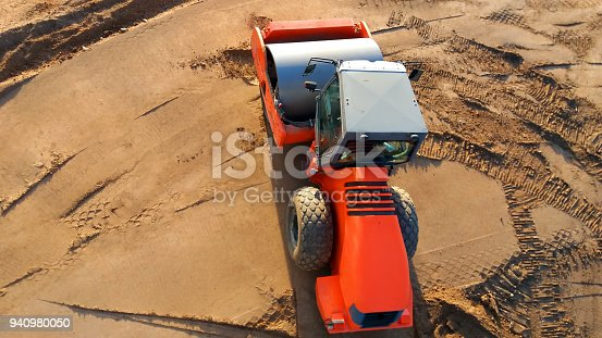 istock Aerial view of compactor 940980050