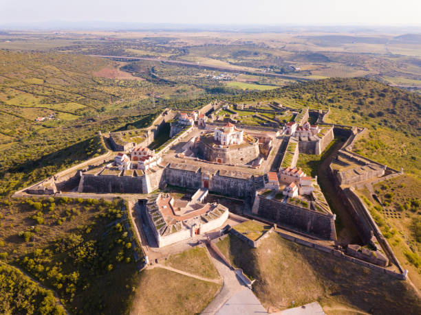 Aerial view of Conde de Lippe Fort, Elvas Aerial view of finest example of trace italienne in military architecture  - star-shaped Conde de Lippe Fort in Portuguese municipality of Elvas unesco stock pictures, royalty-free photos & images