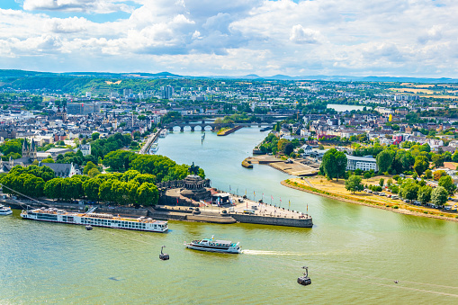 Aerial view of confluence of Rhein and Mosel rivers in Koblenz, Germany