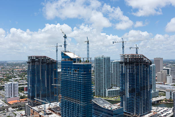Aerial view of construction at Brickell Avenue stock photo