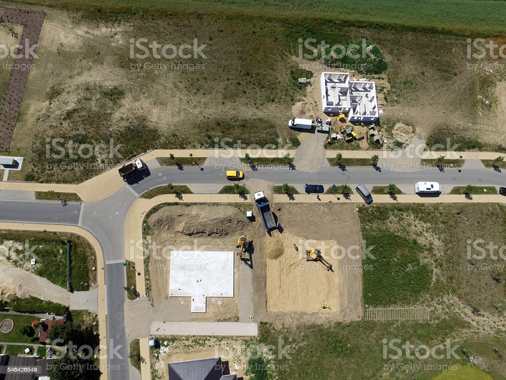 aerial view of Construction side suburban house in germany – Foto