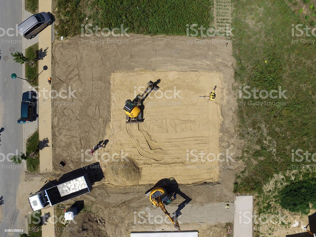 aerial view of Construction side suburban house in germany stock photo