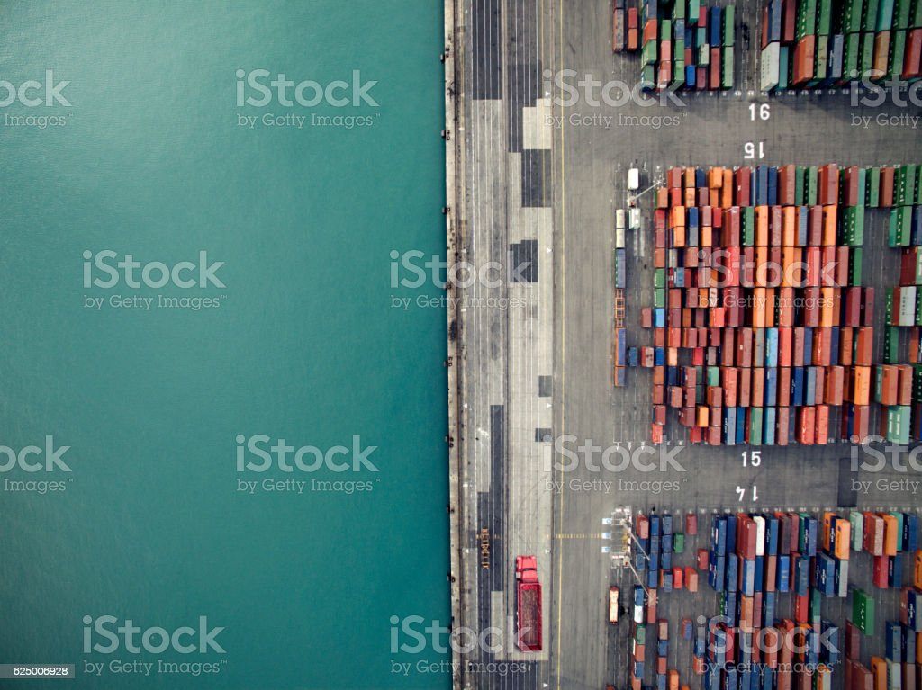 Aerial view of container port stock photo