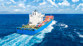 Aerial view of container ship in import export and business logistic
