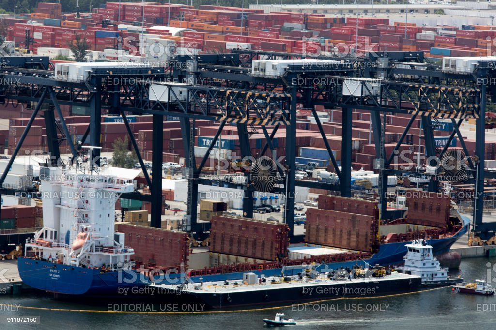 Aerial view of container ships Port Everglades stock photo