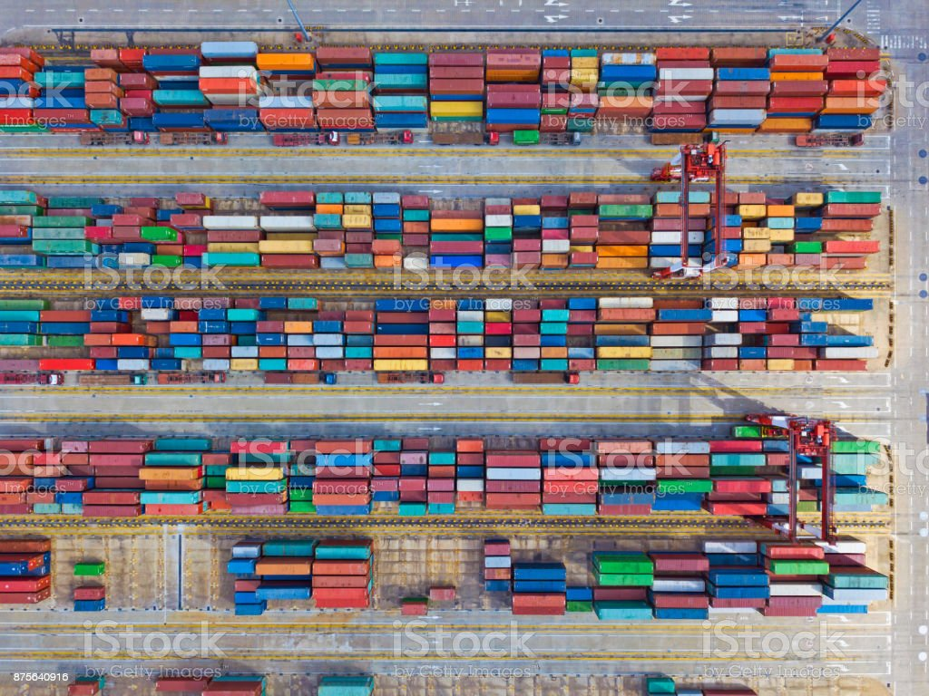 Aerial view of containers stock photo