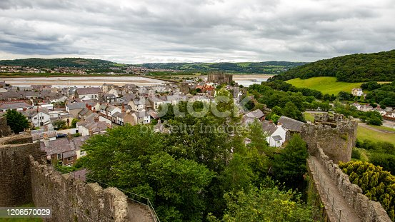 Aerial view of Conwy Castle and River Conwy in Wales from the medieval town walls