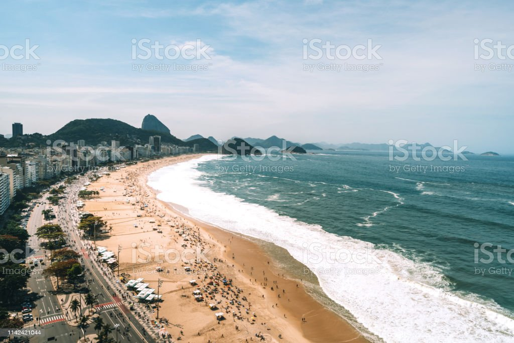 Aerial View Of Copacabana Beach Rio De Janeiro Brazil Stock Photo Download Image Now