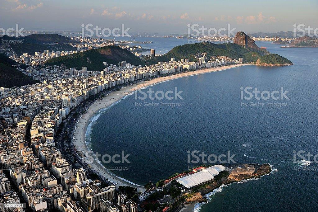 Aerial view of Copacabana Beach, Rio de Janeiro, Brazil stock photo