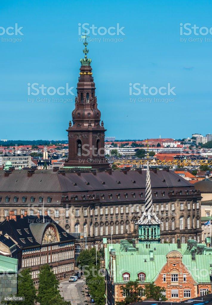 Aerial view of Copenhagen city center, Denmark stock photo