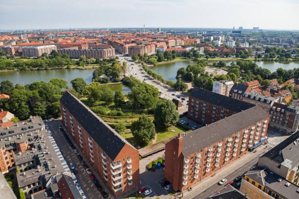Aerial view of Copenhagen city. Christianshavn district with living blocks. stock photo