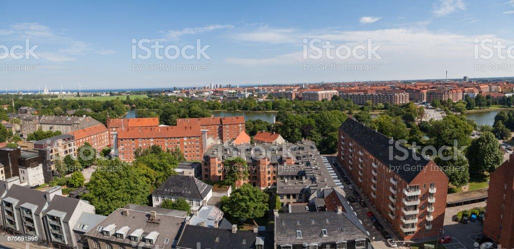 Aerial view of Copenhagen, Denmark. Christianshavn distrinct royalty-free stock photo