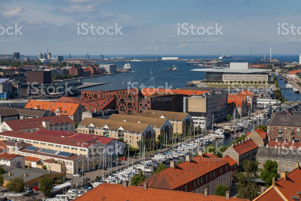 Aerial view of Copenhagen red roofs and canal. Christianshavn distrinct royalty-free stock photo