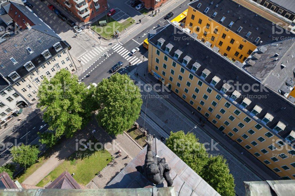 Aerial view of Copenhagen streets. Christianshavn distrinct royalty-free stock photo