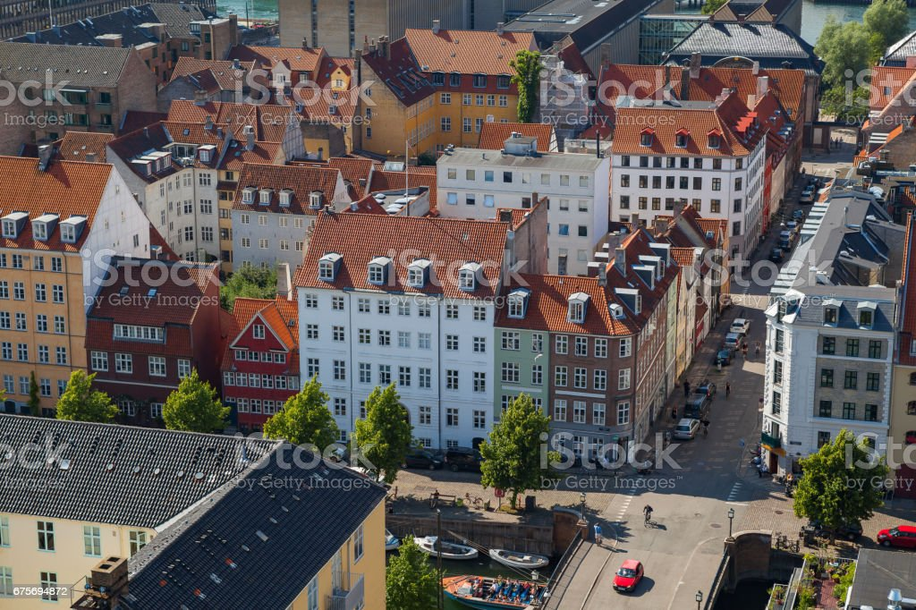 Aerial view of Copenhagen streets. Christianshavn distrinct royalty-free stock photo