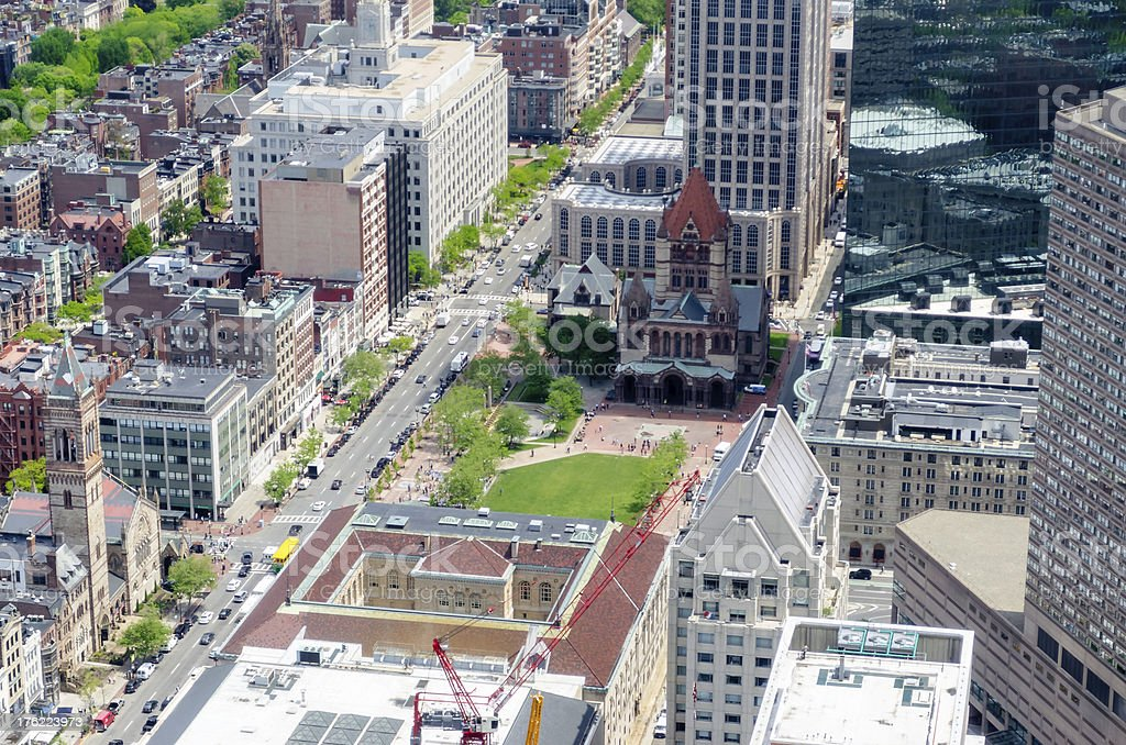 Aerial View of Copley Square, Boston royalty-free stock photo