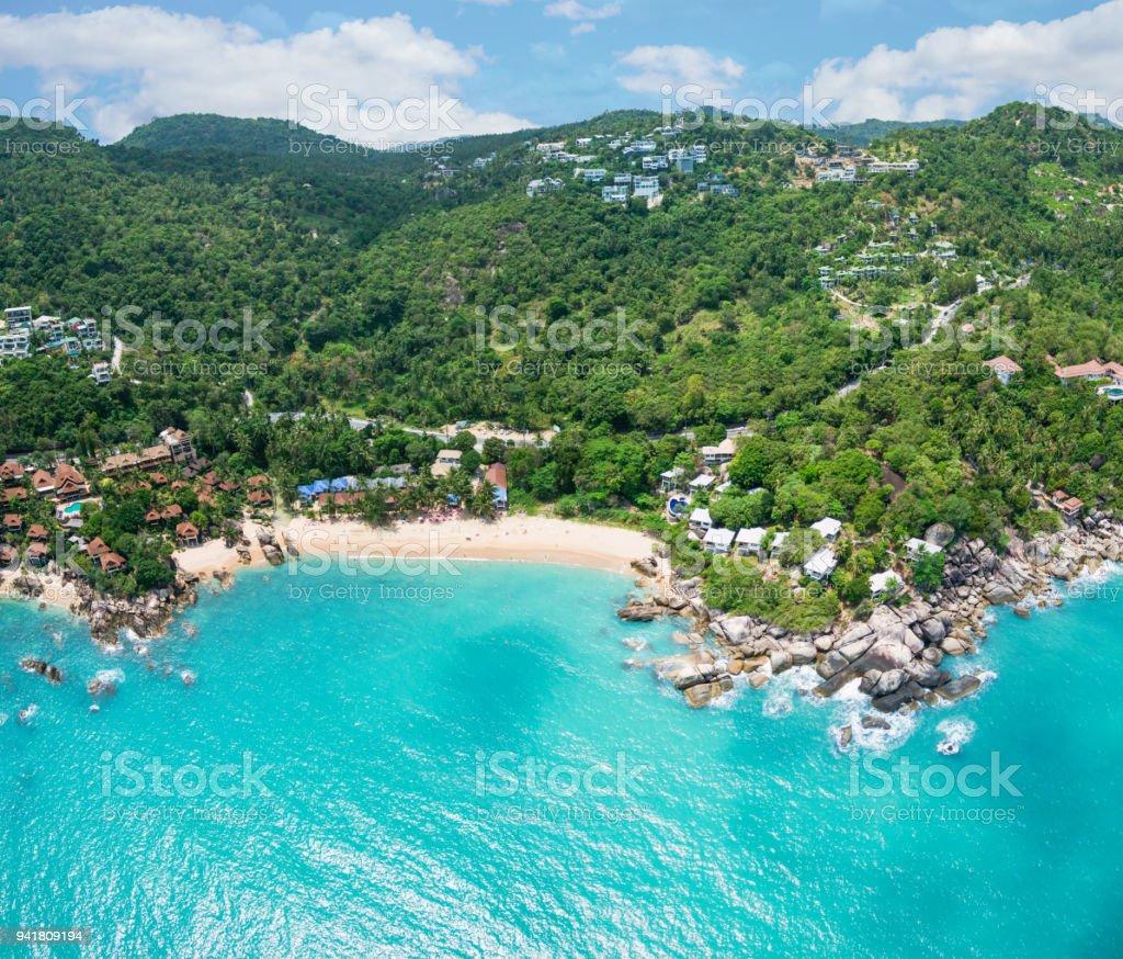 Aerial view of Coral Cove Beach and emerald tropical sea, Ko Samui, Thailand stock photo