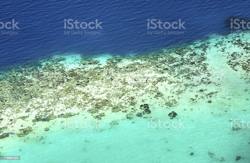 Aerial View of Coral Reef stock photo