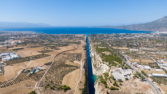 Aerial view of Corinth Canal and Saronic Gulf, Greece
