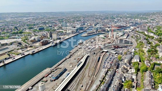 Drone shot of Cork City with views up the River Lee.