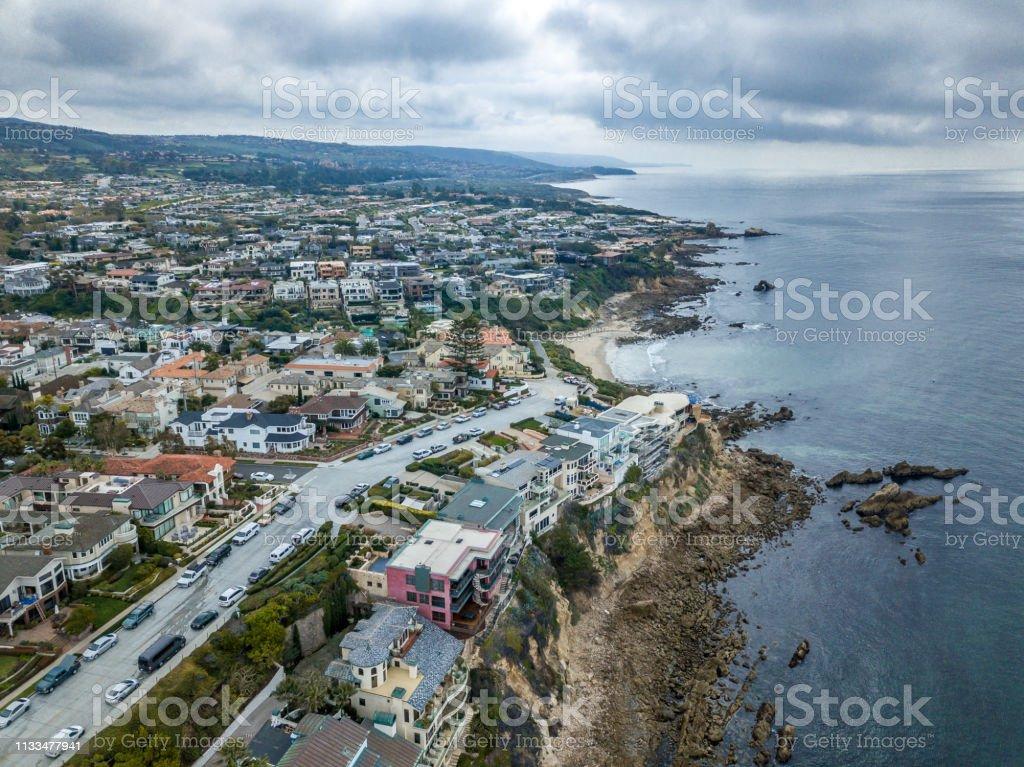 Aerial view of Corona Del Mar Coastline to Laguna Beach stock photo