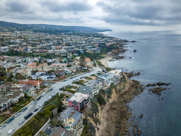 Aerial view of Corona Del Mar Coastline to Laguna Beach stock photo