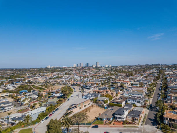 Aerial view of Corona del Mar stock photo