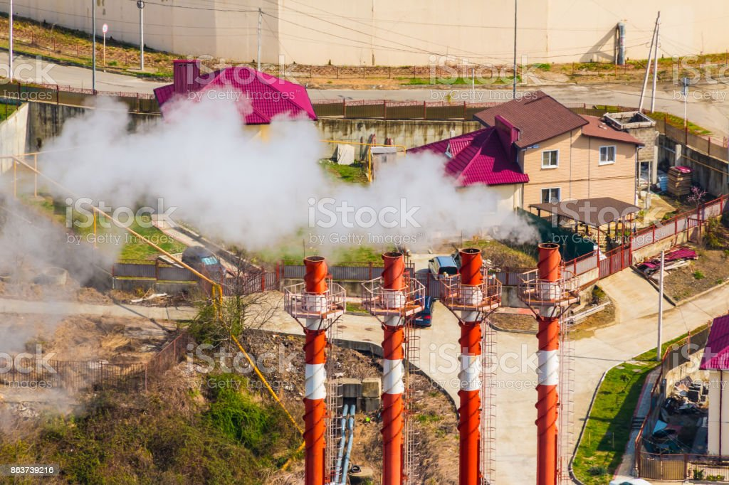 Aerial view of cottages and chimneys, Sochhi, Russia stock photo