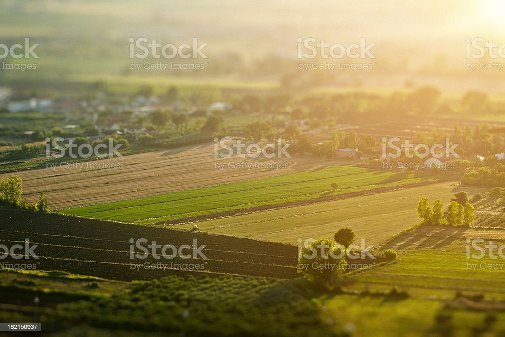 Aerial view of country landscape stock photo