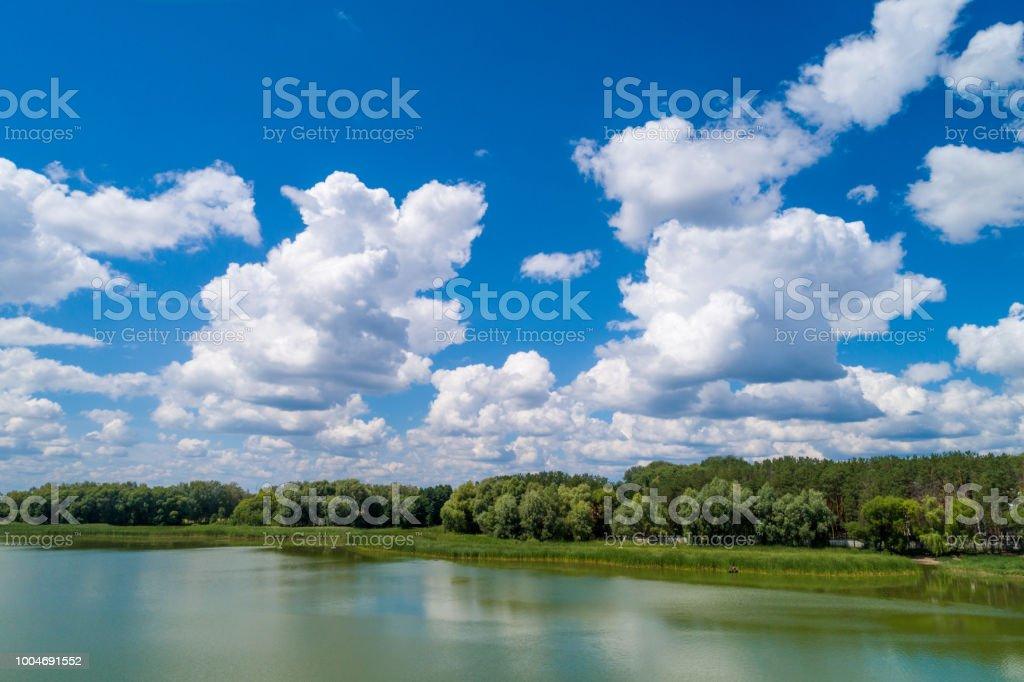 Luftbild von Landschaft und Fluss. Wald entlang des Flusses – Foto