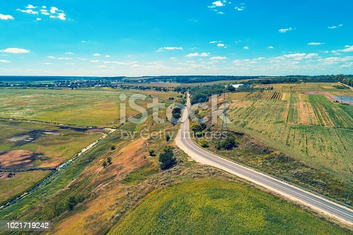 1155573645istockphoto Aerial view of countryside, country road and fields 1021719242