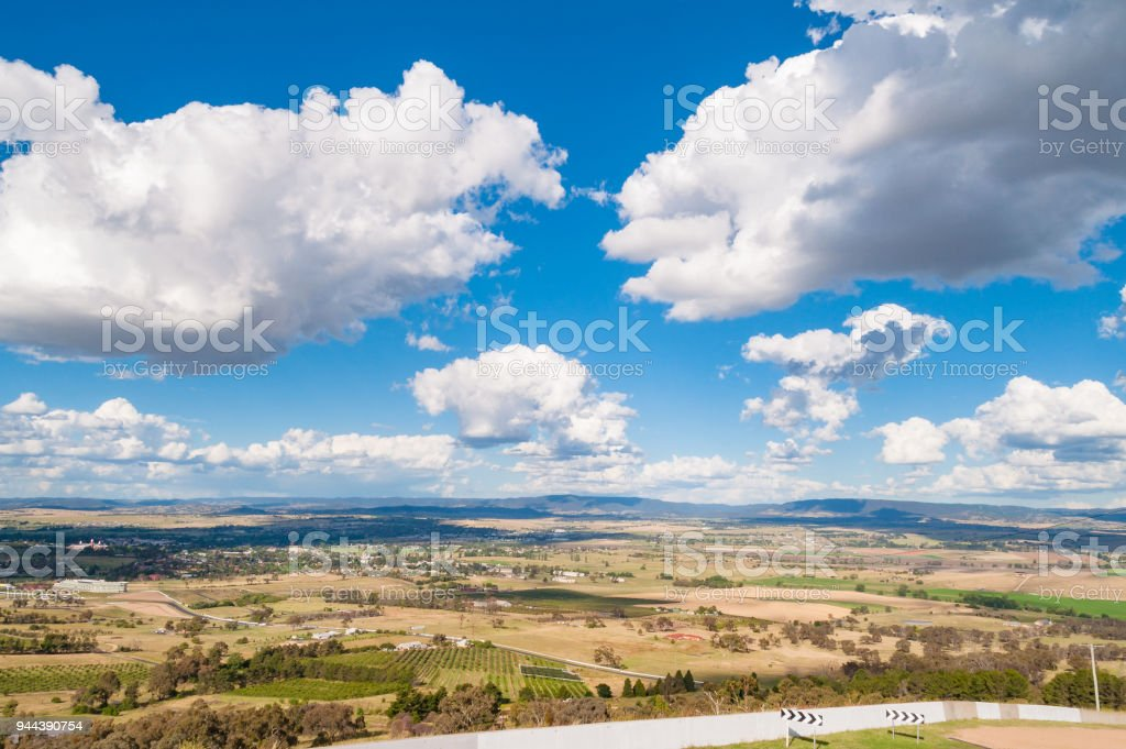 Aerial view of countryside landscape on sunny day stock photo